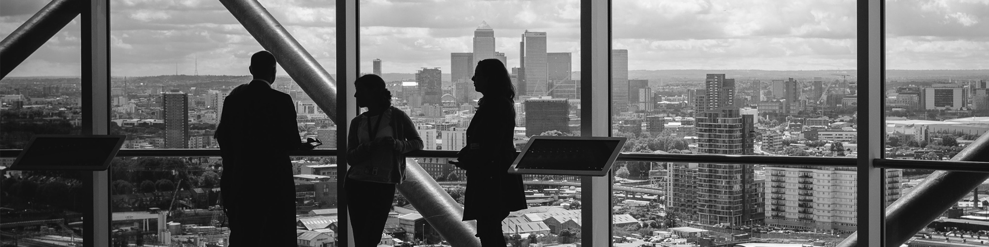 People in a high rise building viewing the skyline