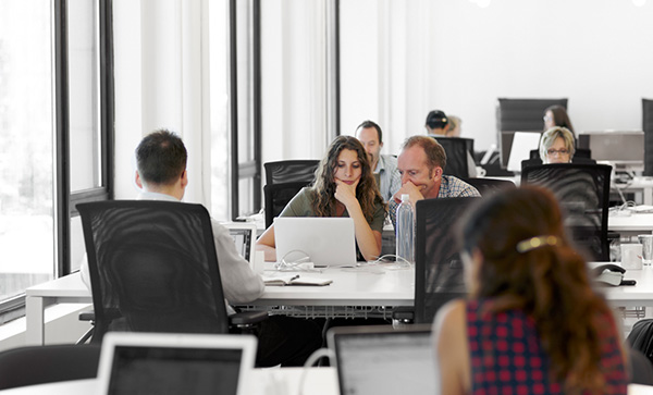 Employees sitting at their desks in office environment